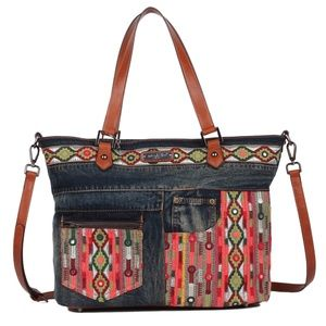 NICOLE LEE ERLA DENIM BOHEMIAN SHOPPER BAG